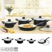 Batterie de cuisine kit casseroles poêle céramique marmites noir