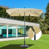 Parasol 2x1,25m - Rectangulaire Inclinable Imperméable Beige