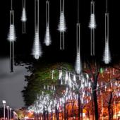 50CM Blanc 240LED météore douche pluie 8 tubes Guirlande lumières Noël