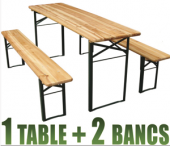 Table pliante camping - table+bancs