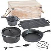 Lot de 7 pièces poêle casserole en fonte plaque gril set cuisine campi
