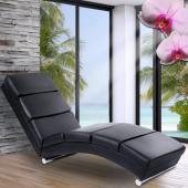 Chaise longue fauteuil de relaxation terrasse jardin salon détente NOIR