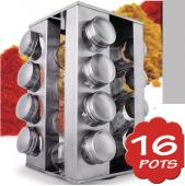 étagère à épices design rectiligne 16 pots à épices avec tamis mont