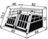 Cage de transport chien en aluminium - 89x69x50