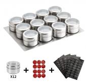 12 Pots à Epices Magnétique Acier Inoxidable