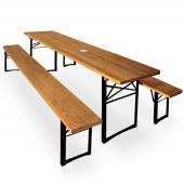 Salon de jardin bois - table et bancs