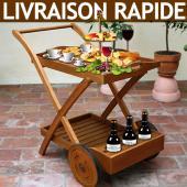 Meuble desserte chariot à roulettes avec plateau repas en Euc