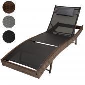 Chaise longue bain de soleil meuble de jardin en poly rotin transat coussin