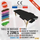 Table de massage Bois - 2 zones pliante - Différents coloris