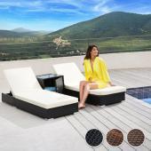 Chaises longue bain de soleil + table ALU