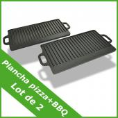 Plancha en fonte réversible XL plaque grill à pizza BBQ