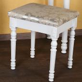 Tabouret Pouf pour coiffeuse en bois + MDF blanc env. 51x39x30 cm