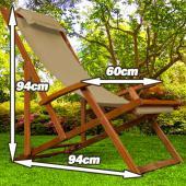 Chaise camping longue de plage BEIGE pliante pliable bois tropical exo