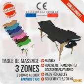 Table de massage BOIS 3 zones pliante
