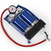 Pompe à air vélo pneu gonfleur à pied double cylindre manomètre pédale
