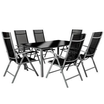 Salon de jardin aluminium - 6+1 - Gris