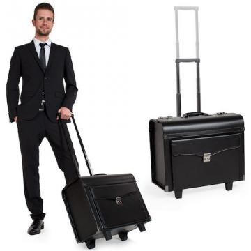 Pilot case trolley valise mallette de pilote sac à roulettes poignée noir-1