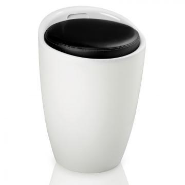 tabouret panier rangement blanc noir. Black Bedroom Furniture Sets. Home Design Ideas