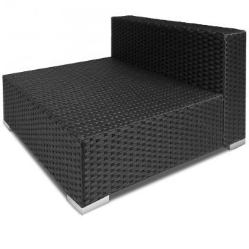 Salon de jardin XXL polyrotin 35 pièces - noir coussins 7cm