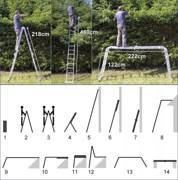 Echelle alu - Echelle pliante - Echelle telescopique 5m