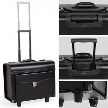Pilot case trolley valise mallette de pilote sac à roulettes poignée noir-3