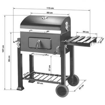 Barbecue au charbon de bois grill fumoir bbq wagon 115 x 65