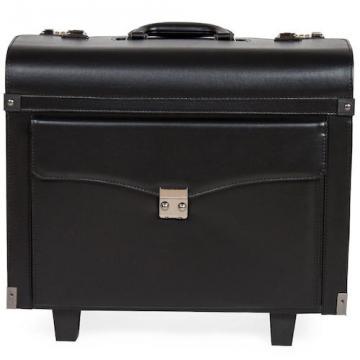 Pilot case trolley valise mallette de pilote sac à roulettes poignée noir-4