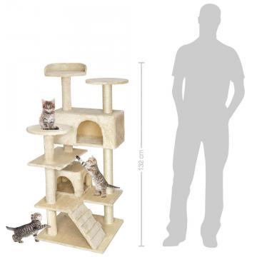 Arbre à chat griffoir grattoir avec 2 grottes * 132cm