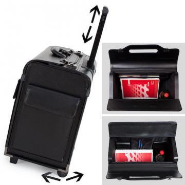 Pilot case trolley valise mallette de pilote sac à roulettes poignée noir-5