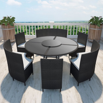 Salon Noir et table polyrotin de 12 jardin chaises Ensemble ronde personnes en tsdQrhC